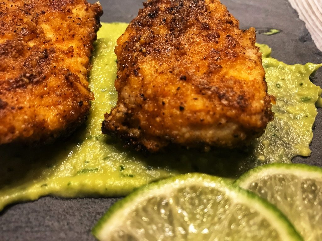chicken tenders on avocado
