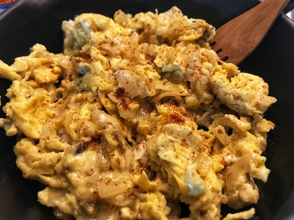 eggs with gorgonzola as a low carb side dish or breakfast