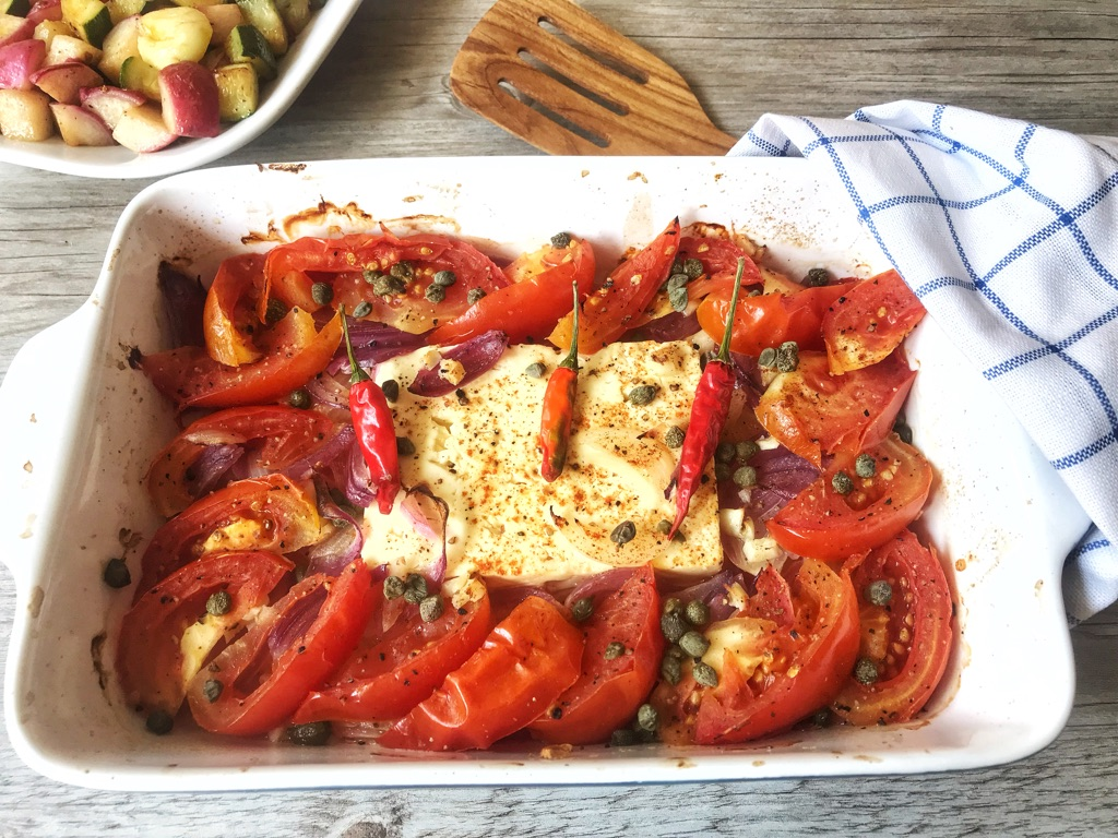 baked feta cheese is a wonderful greek low carb dish