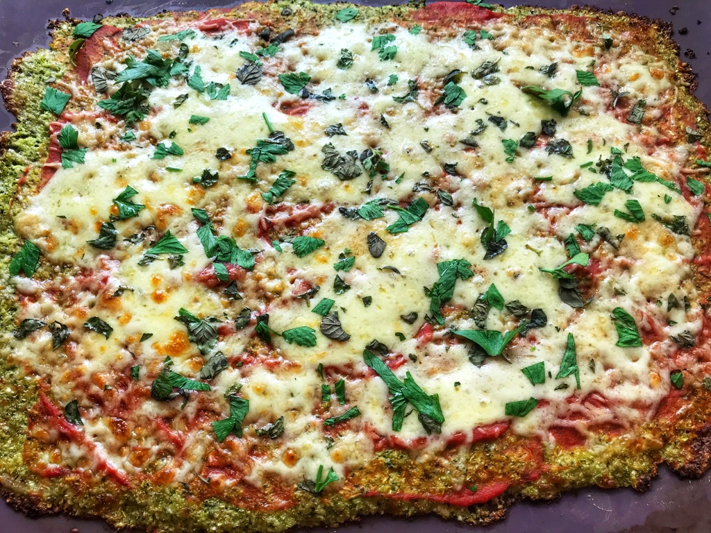 low carb broccoli pizza fresh from the oven