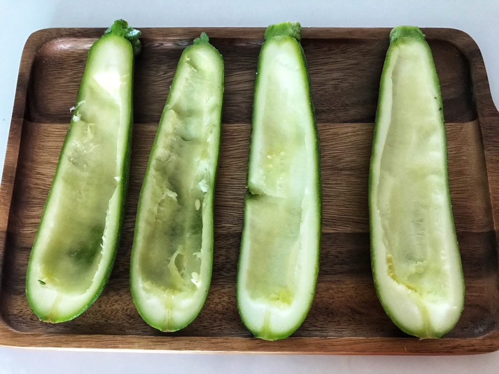 prepare the zucchini boats