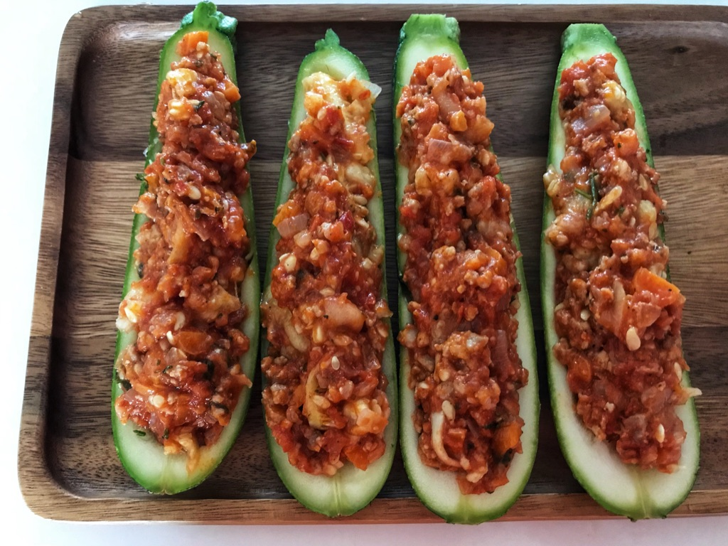zucchini boats stuffed with bolognese sauce