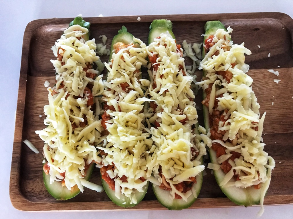 add some cheese on the zucchini boats before bake