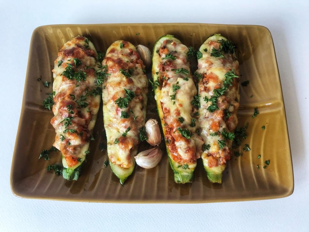 stuffed zucchini boats bolognese style
