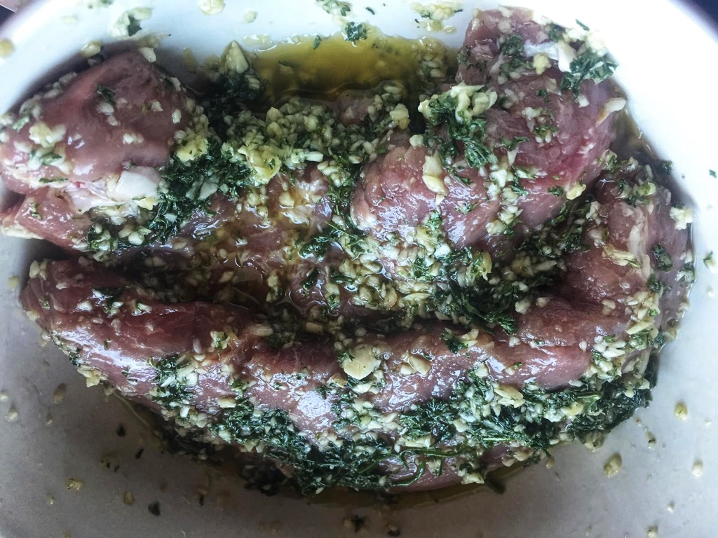 marinade the pork tenderloin and put in the fridge overnight